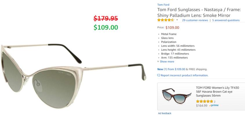 1fc536214ac0a Tom Ford Sunglasses – Nastasya   Frame  Shiny Palladium Lens  Smoke Mirror