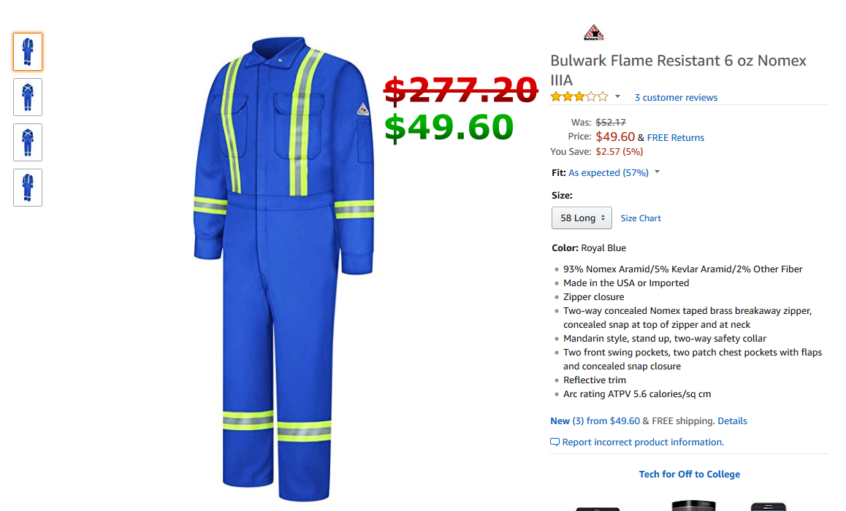 6a469101a892 Bulwark Flame Resistant 6 oz Nomex IIIA Long Premium Coverall with  Reflective Trim and Concealed Snap Closure On Sleeve Cuff