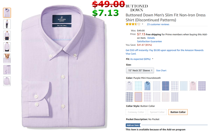 844869df Buttoned Down Men's Slim Fit Button-Collar Pattern Non-Iron Dress Shirt,  Purple Mini Houndstooth