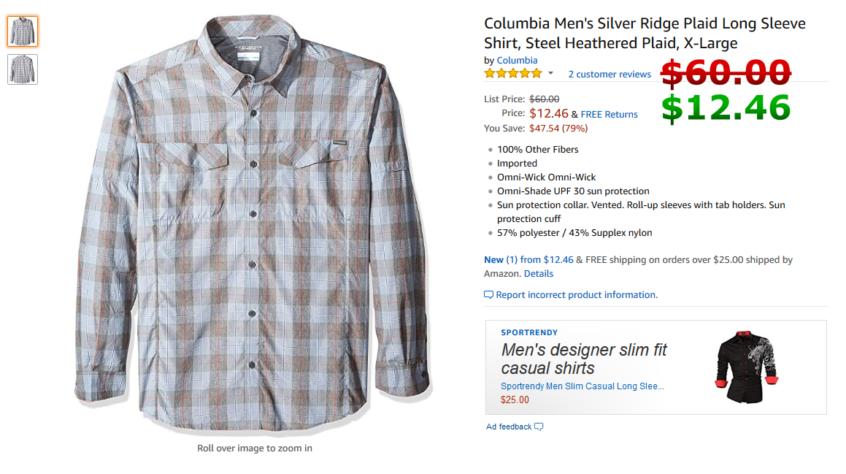 19ce40aba46 Columbia Men's Silver Ridge Plaid Long Sleeve Shirt, Steel Heathered Plaid