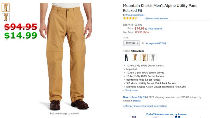 Mountain Khakis Mens Alpine Utility Pant Relaxed Fit