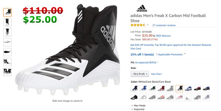 6996a7d5622 adidas Men s Freak X Carbon Mid Football Shoe